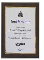 San Diego Magazine Top Dentist 2015 George C. Georgaklis, D.D.S.