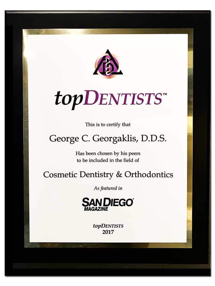 San Diego Magazine Top Dentist 2017 George C. Georgaklis, D.D.S.