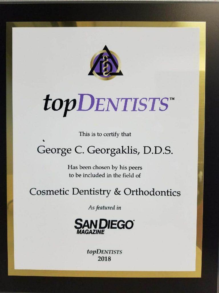 San Diego Magazine Top Dentist 2018 George C. Georgaklis, D.D.S.